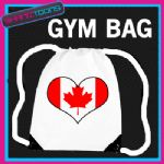 CANADA FLAG HEART LOVE GYM DRAWSTRING WHITE GYMSAC BAG